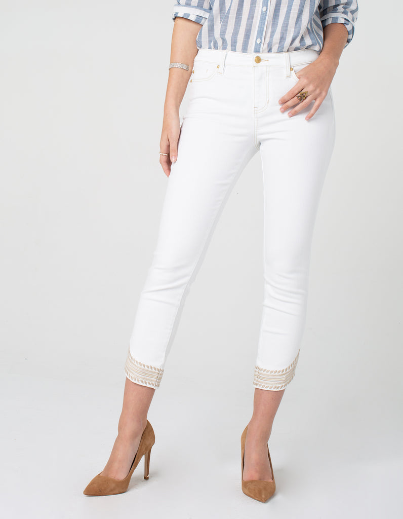 Liverpool Abby Crop Skinny w/ Embroidered Scallop Hem LM7146 - Saratoga Saddlery & International Boutiques