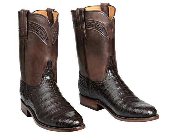 Lucchese Men's Wilson Belly Caiman Crocodile Roper GY3010 - Chocolate