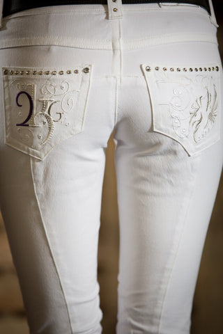Equine Couture Ladies Sophie Knee Patch Breeches White