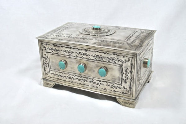 J Alexander 9 Stone Box with Turquoise