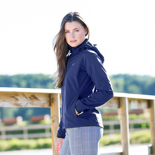 Horze Emma Women's Navy Softshell Jacket - Saratoga Saddlery & International Boutiques