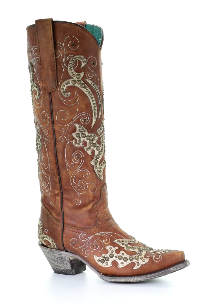 Corral Women's Brown Overlay Embroidery Studs and Crystals Boot A3638