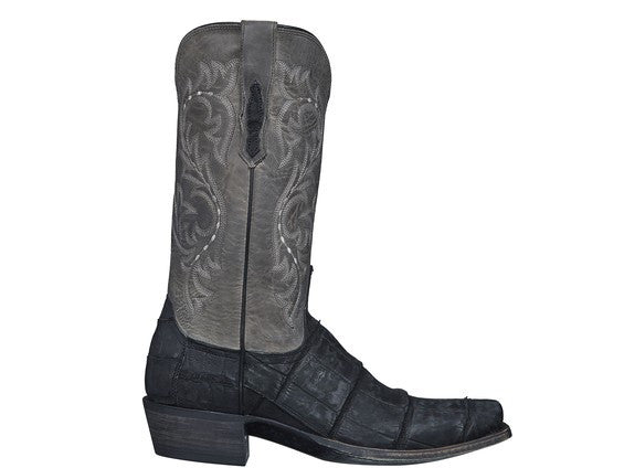 Lucchese Men's Burke Alligator Boot in Black/Gray M3195 - Saratoga Saddlery & International Boutiques