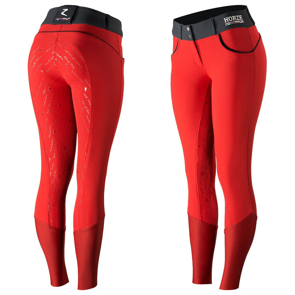Horze nordic performance womens silicone breeches 36234 red