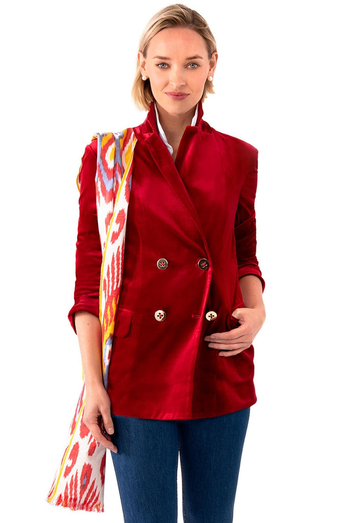 Gretchen Scott Womens Chic Blazer In Crimson Posh Velvet JKCBPV FW19 - Saratoga Saddlery & International Boutiques