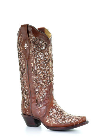 Lucchese Women's Annalyn Belly Caiman Crocodile Boot M4943 - Black/Violet