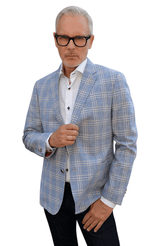 7 Downie Men's Shirt 6003  BLUE & WHITE CIRCLES SHIRT