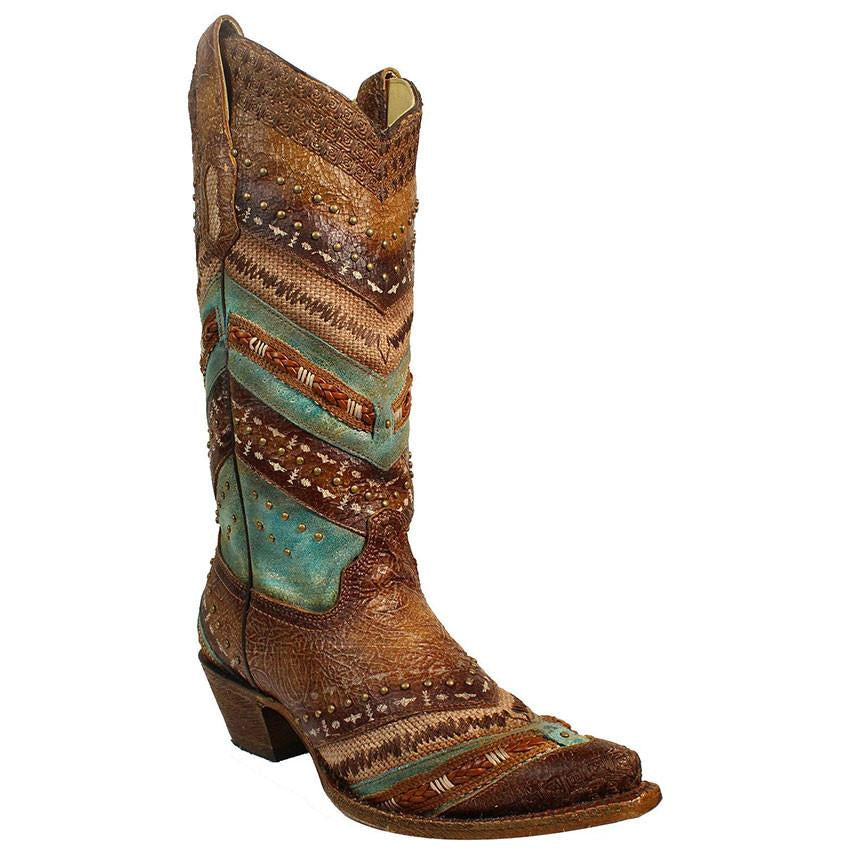 Corral Women's Brown and Turquoise Embroidered Boot A3381 - Saratoga Saddlery & International Boutiques