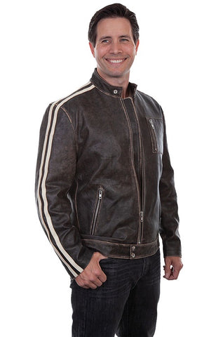 MISSANI LE COLLEZIONI Classic Fit Military Shirt Leather Jacket