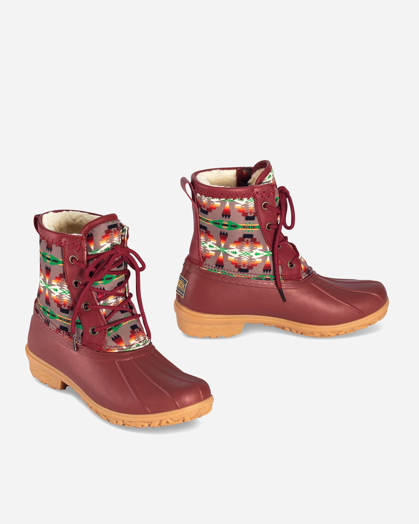 Pendleton Heritage Tucson Print Duck Short Boot Scarlet - Saratoga Saddlery & International Boutiques