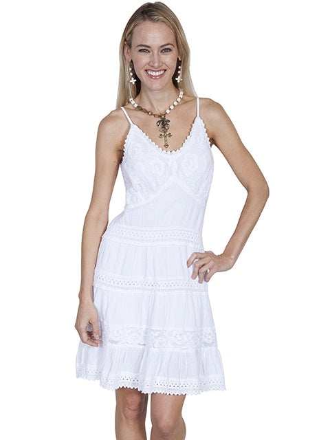 Scully Cotton Short Dress PSL173 in white (front)