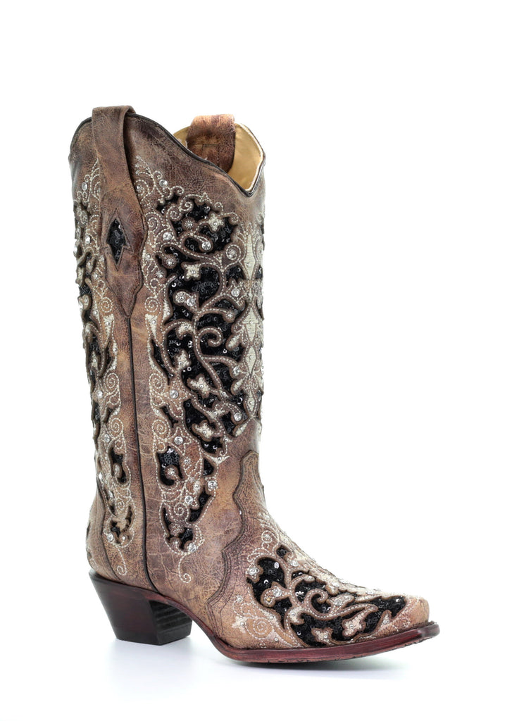 Corral Women's Brown Black Inlay Floral Embroidery Studs and Crystals Boot A3569