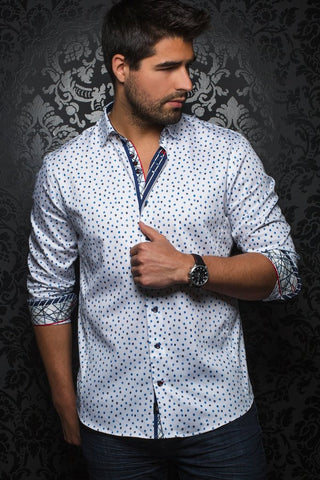 7 Downie Street Long Sleeve Mens Dress Shirt In Blue Floral Print