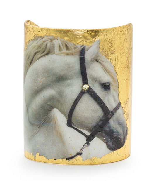 Evocateur Horse Cuff White Horse 3 inch Gold Bracelet Equestrian Jewelry - Saratoga Saddlery & International Boutiques