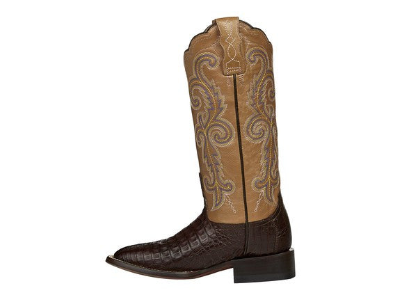 Lucchese Women's Annalyn Belly Caiman Crocodile Boot M4942 - Cafe Brown/Light Brown