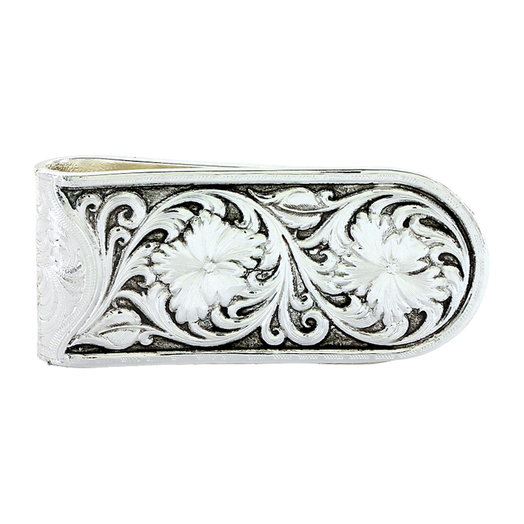 Montana Silversmiths Silver Floral Scroll Money Clip MCL26RTS - Saratoga Saddlery & International Boutiques