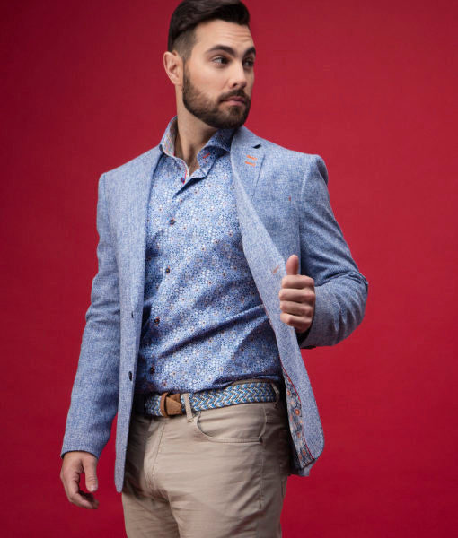 7 Downie Street Florence Mens Blazer in Light Blue