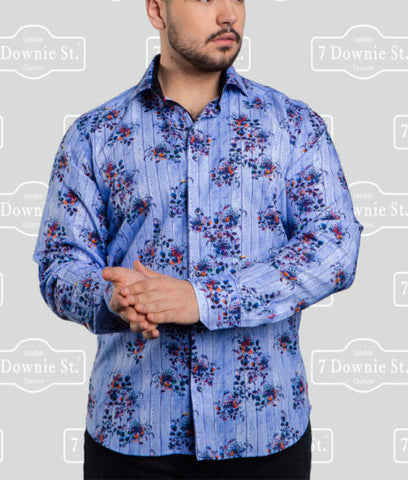 Au Noir Castello Men's Dress Shirt in Floral Blue