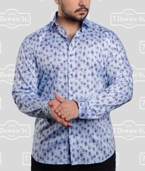 7 Downie Street Long Sleeve Mens Blue Dress Shirt