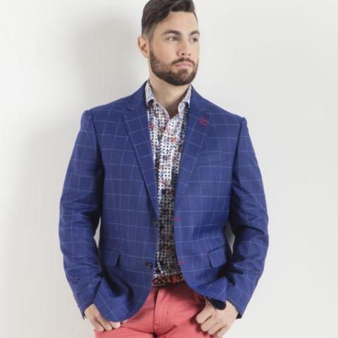 7 Downie St Pisa Men's Blazer in Navy Windowpane