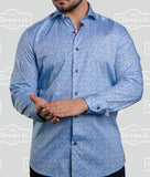 7 Downie Street Long Sleeve Mens Dress Shirt In Blue - Saratoga Saddlery & International Boutiques