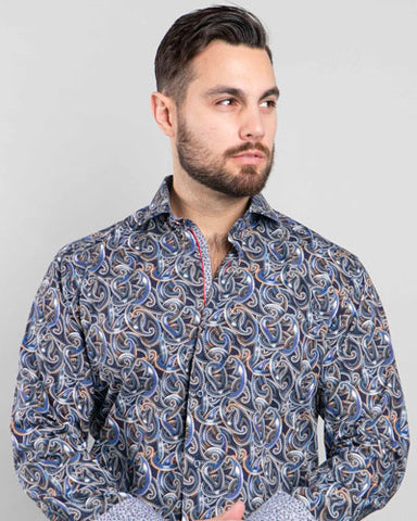 7 Downie Street Long Sleeve Mens Multi Dress Shirt