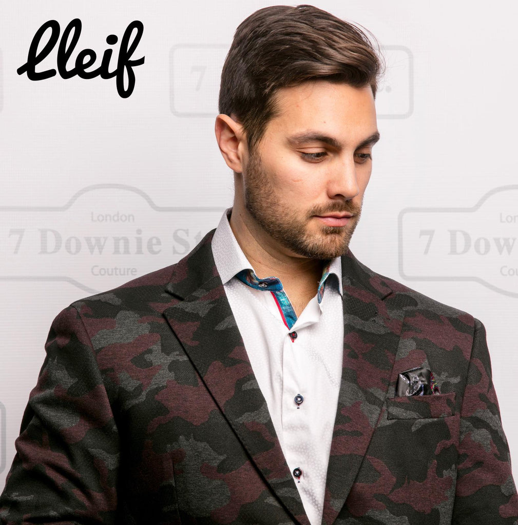 7 Downie St. LLeif Men's Blazer/Sports Jacket With Black Grey And Burgundy Camouflage Print - Saratoga Saddlery & International Boutiques