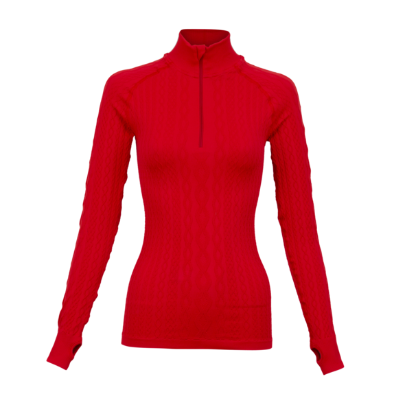 Krimson Klover Aran Cable 1/4 Zip Top in Chinese Red - Saratoga Saddlery & International Boutiques