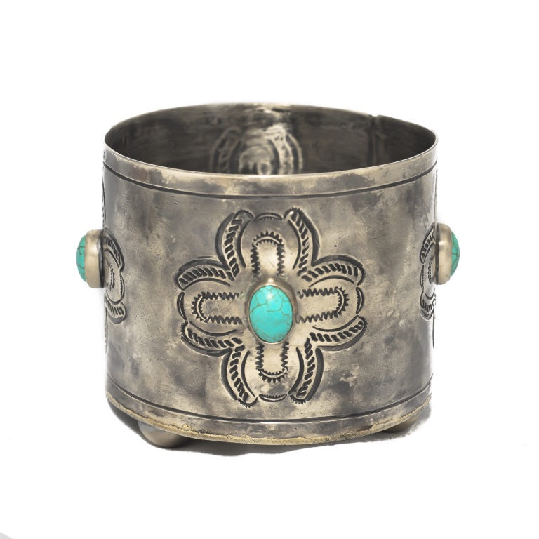 J Alexander WJA-001-2-T Silver Stamped & Turquoise Wine Coaster - Saratoga Saddlery & International Boutiques