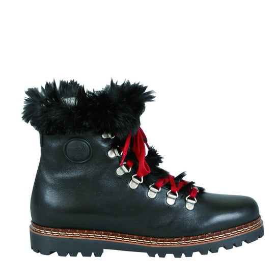 Ammann Splugen Boot in Black Leather with Black Rabbitfur