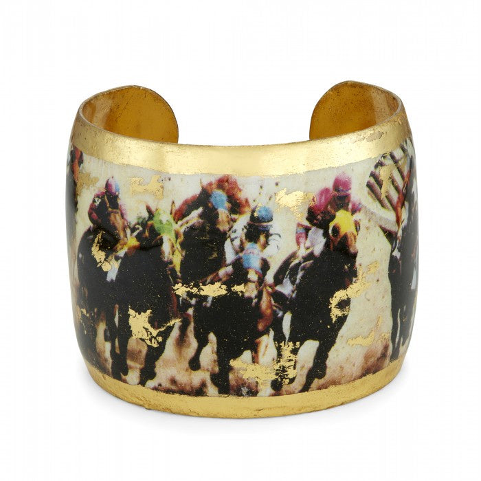 Evocateur Saratoga Horse Dirt Track Race Vintage Gold Cuff Bracelet Hand Made in USA - Saratoga Saddlery & International Boutiques