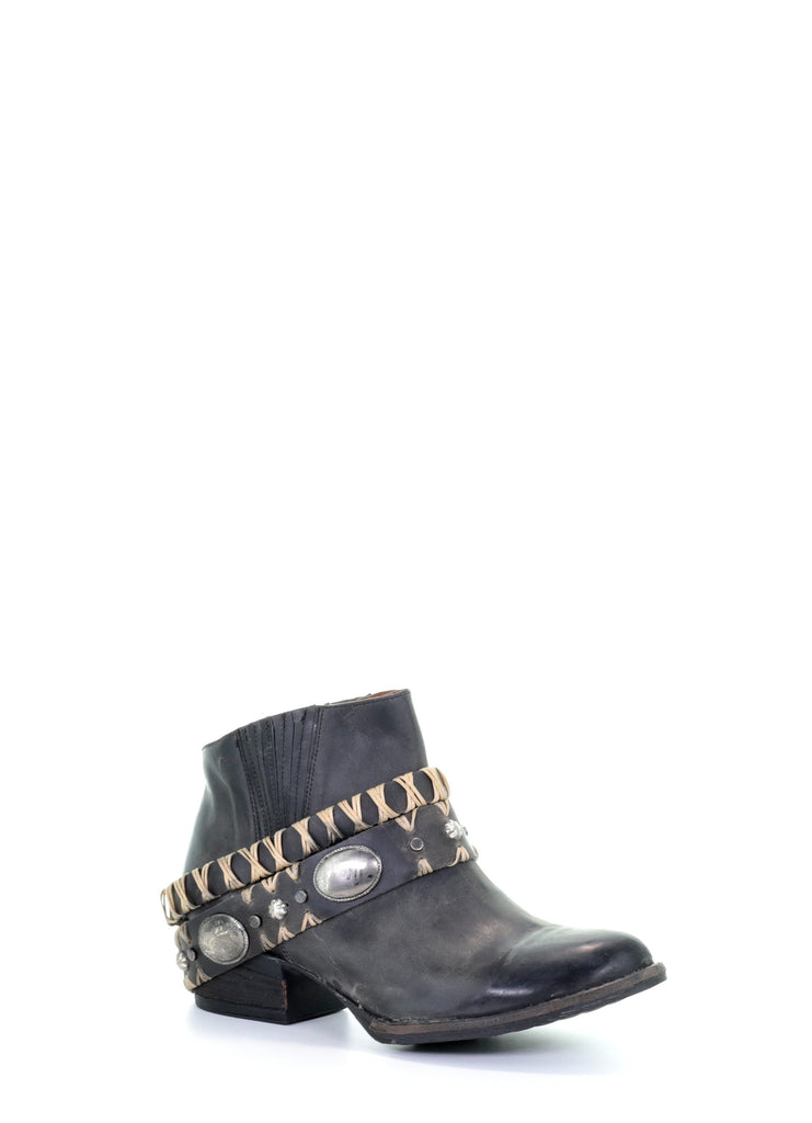 Corral Women's Black Harness Ankle Boots Q5064