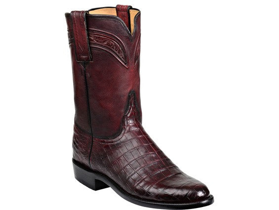 Lucchese Men's Wilson Belly Caiman Crocodile Roper GY3005 - Black Cherry