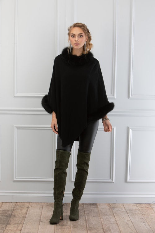 Dana Stein 1909 Knit Poncho with Fox Collar and Cuffs - Black - Saratoga Saddlery & International Boutiques