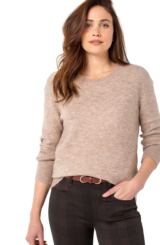 Liverpool Women's Top HIGH LOW CREW NECK SWEATER in Heather Taupe LONG SLEEVE Women's Sweater - Saratoga Saddlery & International Boutiques