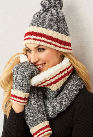 Giftcraft 405917 Hat Scarf Set Grey White ON SALE