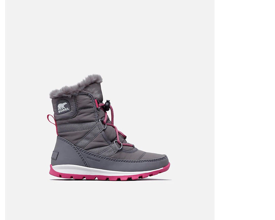 Sorel Youth Whitney Short Lace Quarry and Ultra Pink - Saratoga Saddlery & International Boutiques