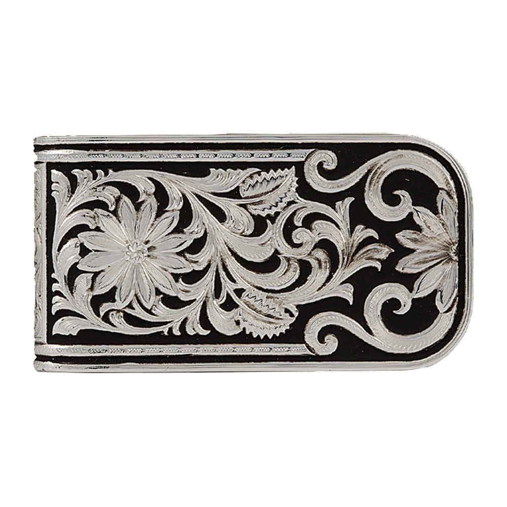 Montana Silversmiths Black/Silver Floral Scroll Money Clip MCL27