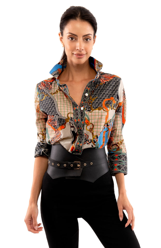 Gretchen Scott Comfy Cozy Shirt Ditto Print Black - Saratoga Saddlery & International Boutiques