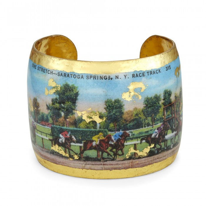 Evocateur Saratoga Race Vintage Gold Cuff Bracelet Hand Made in USA - Saratoga Saddlery & International Boutiques