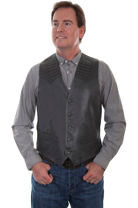 Scully Men's Leather Vest with Caiman Inset 956