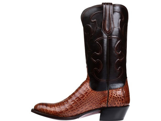 Lucchese Men's Charles Crocodile Boot in Siena and Dark Brown M1635