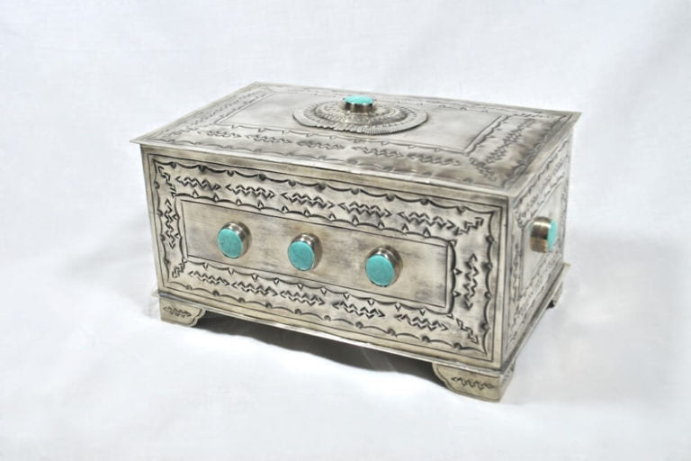 J. Alexander Handmade Rustic Silver 9-Stone Turquoise Box