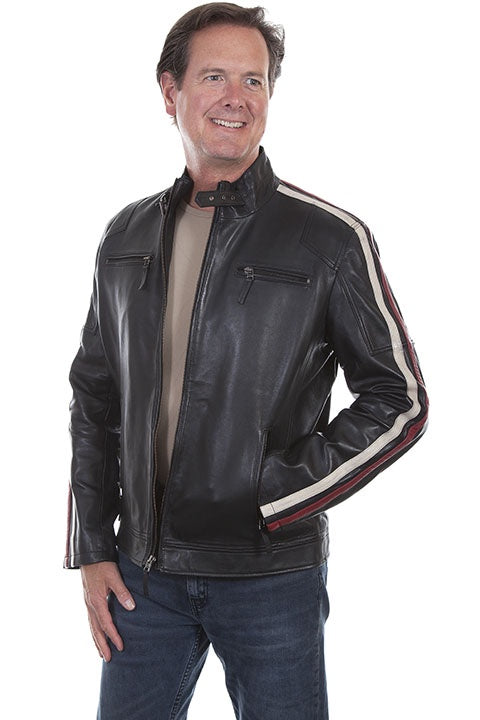Scully 1030 Men's Leather Racing Stripe Moto Jacket - Saratoga Saddlery & International Boutiques
