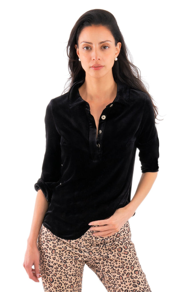 Gretchen Scott Womens Pop Over Top In Black Posh Velvet TPPOPV FW19 - Saratoga Saddlery & International Boutiques