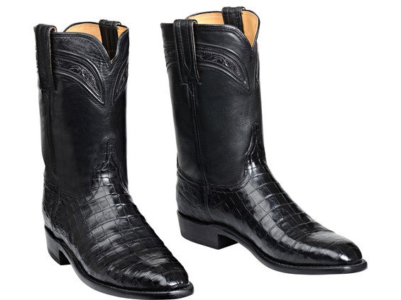 Lucchese Men's Wilson Belly Caiman Crocodile Roper GY3003 - Black