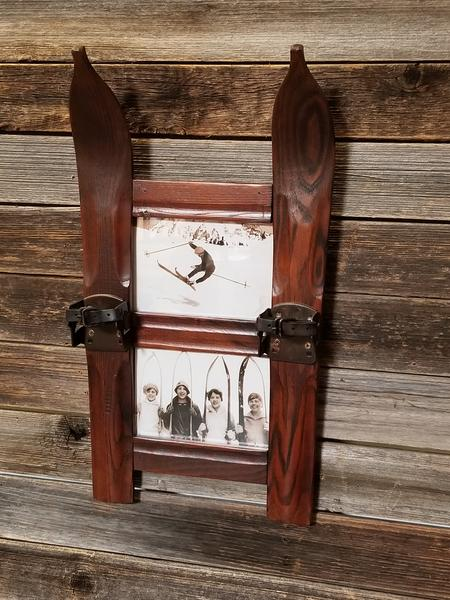 Antique Wooden Ski Photo Frame - Double 5x7