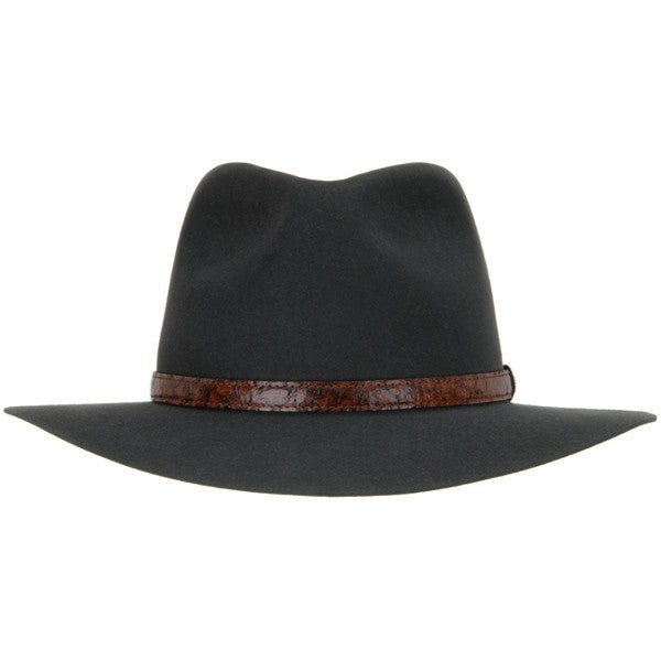 Banjo Akubra Paterson Hat in Charcoal Fur Felt Made In AUS