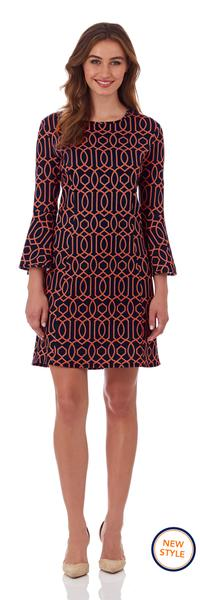 Jude Connally Alice Ponte Fit and Flare Dress in Garden Gate Navy Flame
