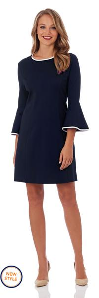 Jude Connally Alice Ponte Fit and Flare Dress in Dark Navy with Cream